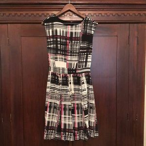 Vince Camuto dress, modest cut, fun pattern